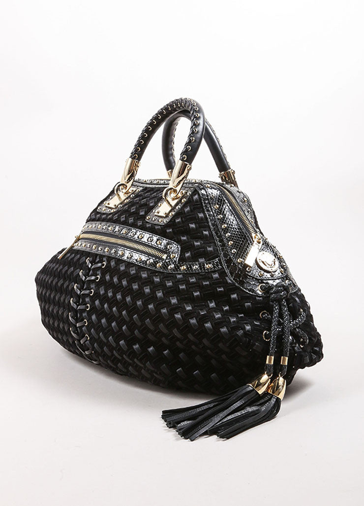 Versace Black Woven Suede, Velvet, and Snakeskin Studded Tassel Satchel Bag Sideview