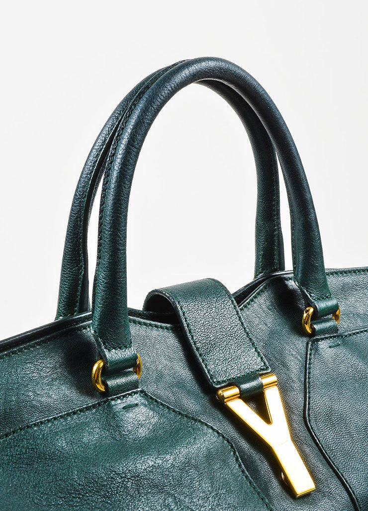 "Yves Saint Laurent Dark Green Gold Hardware ""Medium Cabas Chyc"" Bag Detail 3"