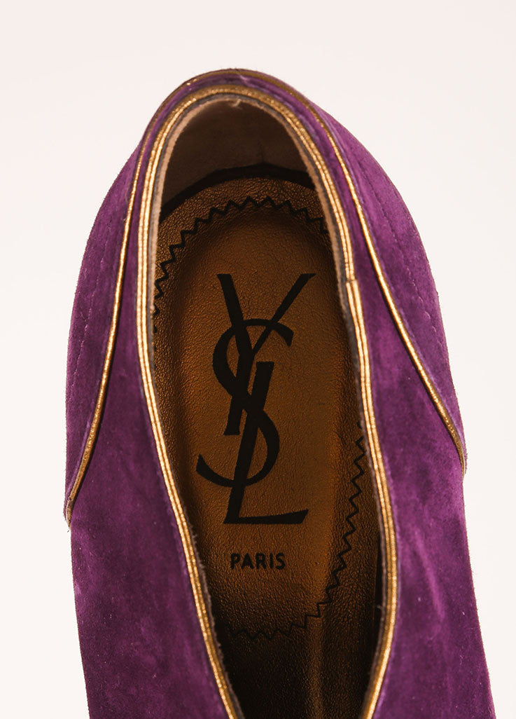 Yves Saint Laurent Purple Suede Leather Lace Up Platform Ankle Booties Brand