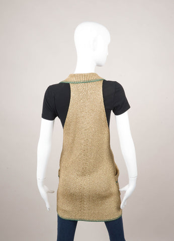 Gold Metallic and Green Knit Vest