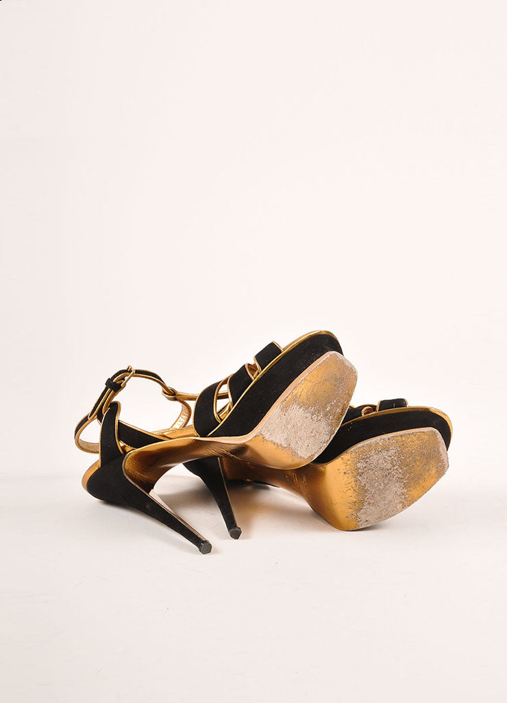 Yves Saint Laurent Black and Metallic Bronze Suede and Leather Platform Sandals Outsoles