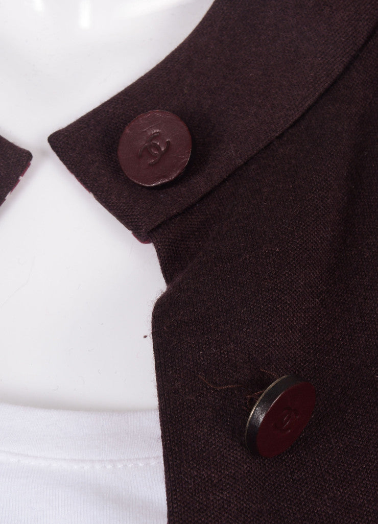 Chanel Maroon Button Front Long Sleeve Dressy Coat Detail