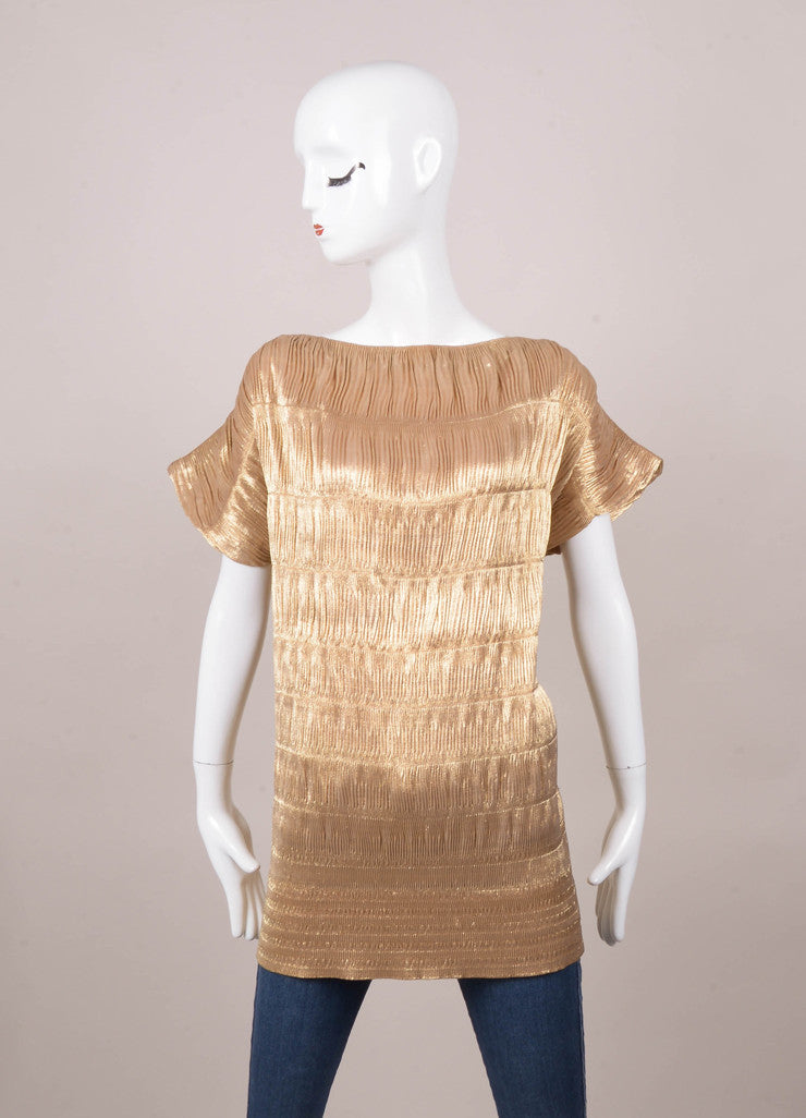 Gold Metallic Tapered Fit Boat Neck Stretchy Top