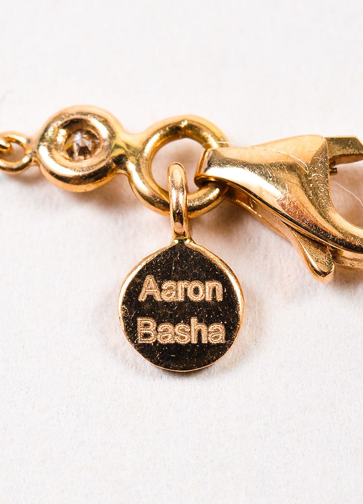 Aaron Basha 18K Rose Gold Black Diamond Beaded Chain Link Necklace Brand