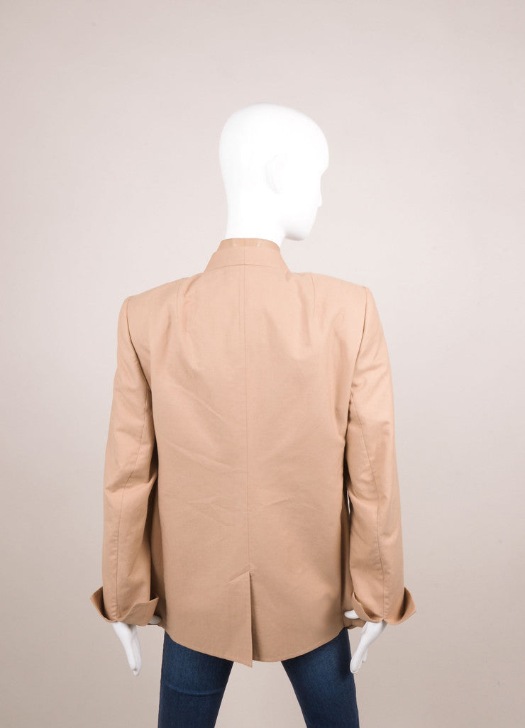 Akris New With Tags Tan Knit Leather Trim Long Sleeve Blazer Backview