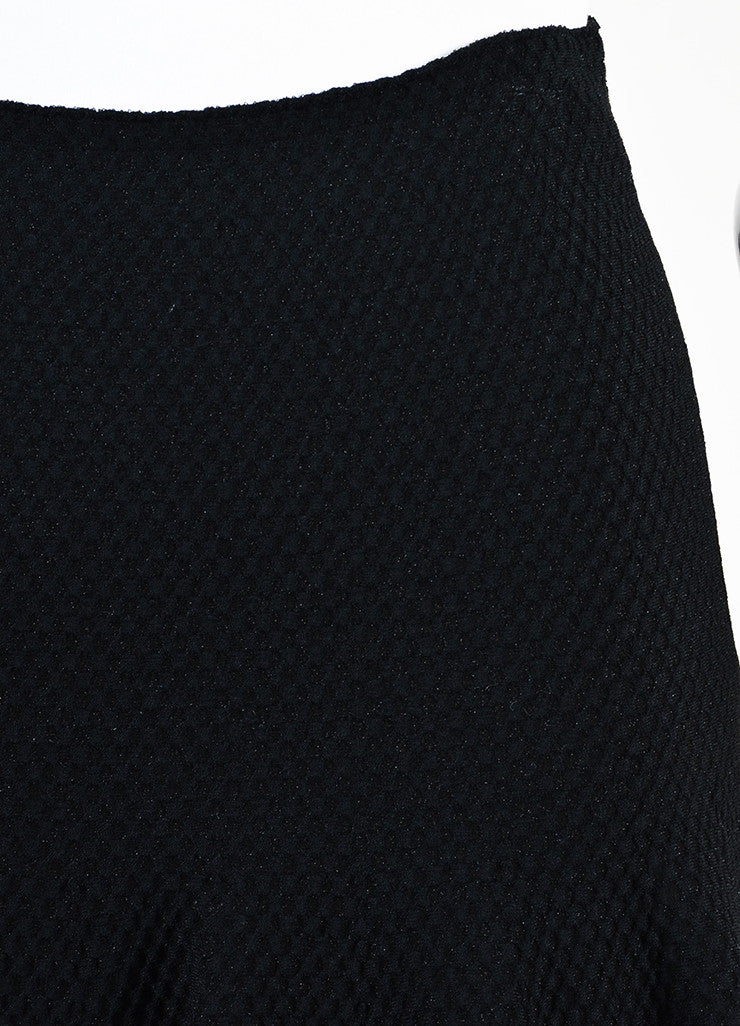Alaia Black Knit Matelasse Flared Skirt Detail