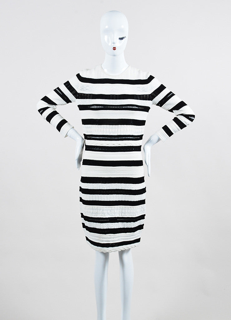 Black and White Alexander McQueen Open Knit Striped Sweater Dress Frontview