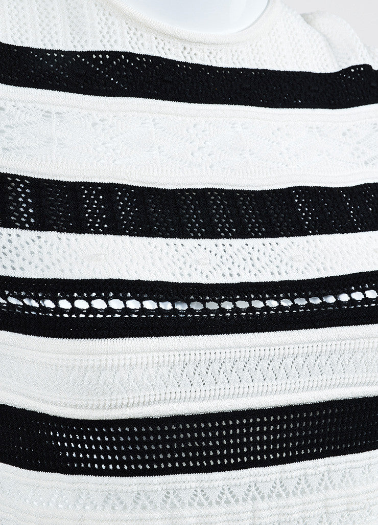 Black and White Alexander McQueen Striped Sweater Dress Detail