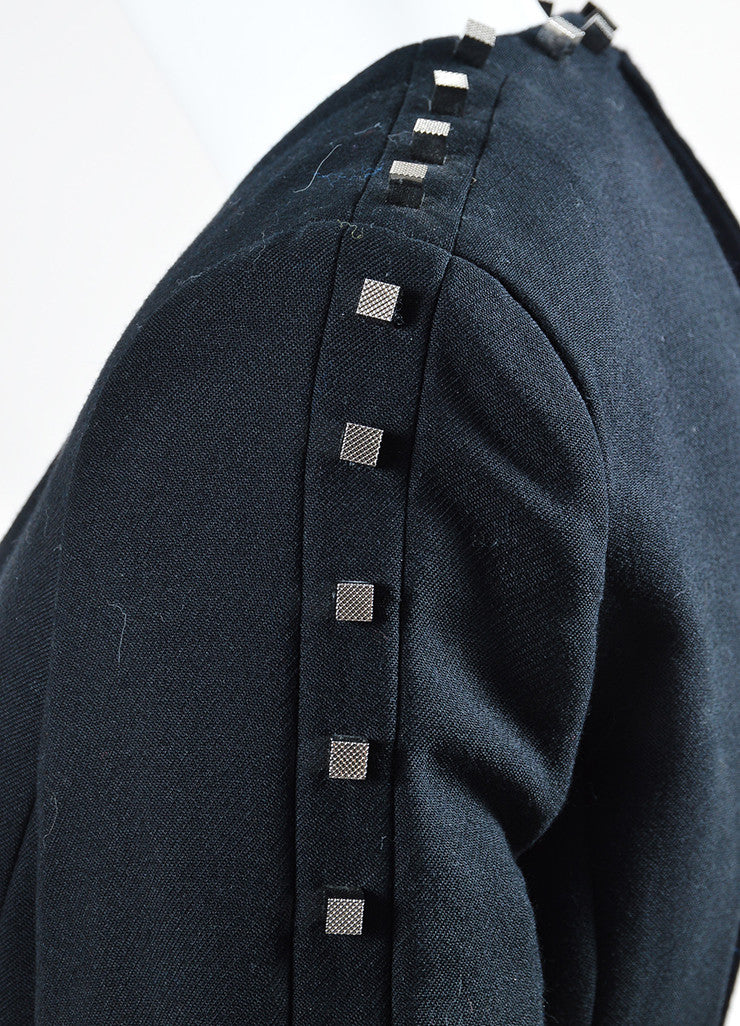 "Black Alexander Wang Wool Blend Studded Backless ""Rivet"" Blazer Detail"