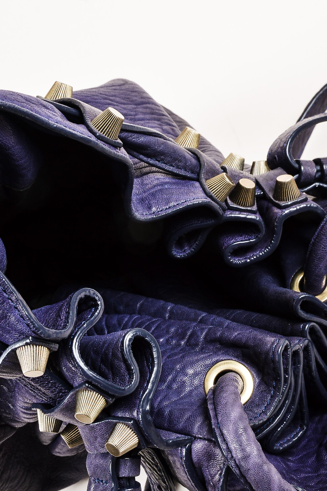 "Alexander Wang Dark Purple Pebbled Leather Brass Stud ""Diego"" Bucket Bag Interior"
