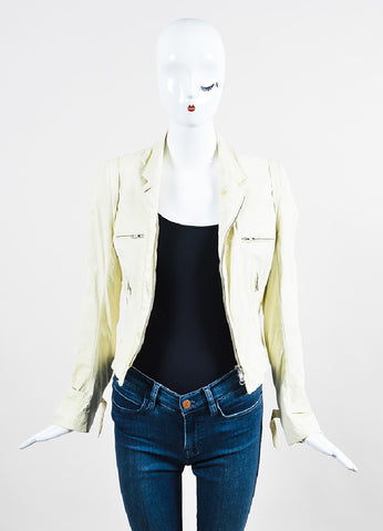Cream Ann Demeulemeester Leather Crinkled Distressed Moto Jacket Frontview
