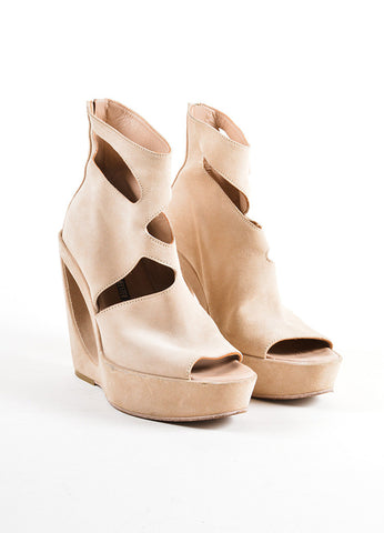 Ann Demeulemeester Tan Suede Open Toe Cut Out Structural Wedge Booties Frontview