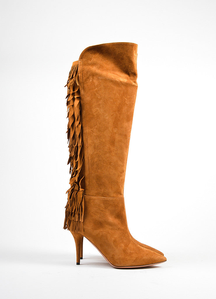 "Aquazzura Cognac Suede Tiered Fringe ""Jagger 85"" Boots Sideview"