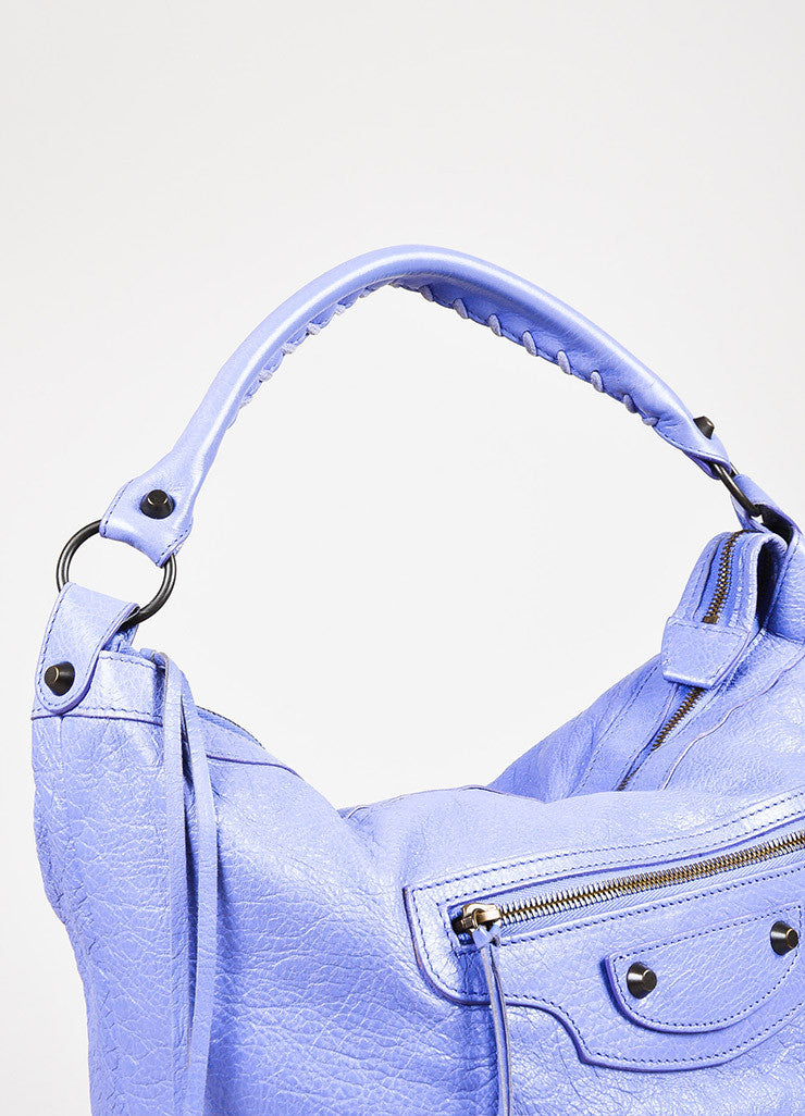 "Balenciaga Lavender Lambskin Leather Classic Hardware ""Day"" Bag Detail 3"