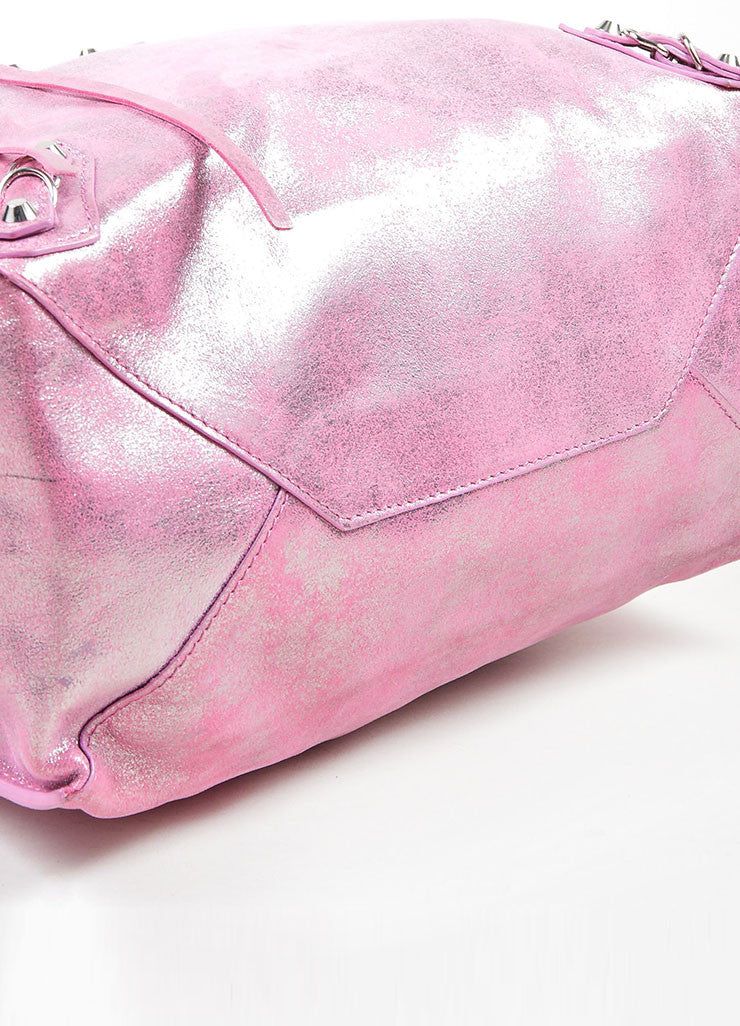 "Pink Metallic Glitter Silver Balenciaga ""Papier A5"" Tote Bag Bottom View"