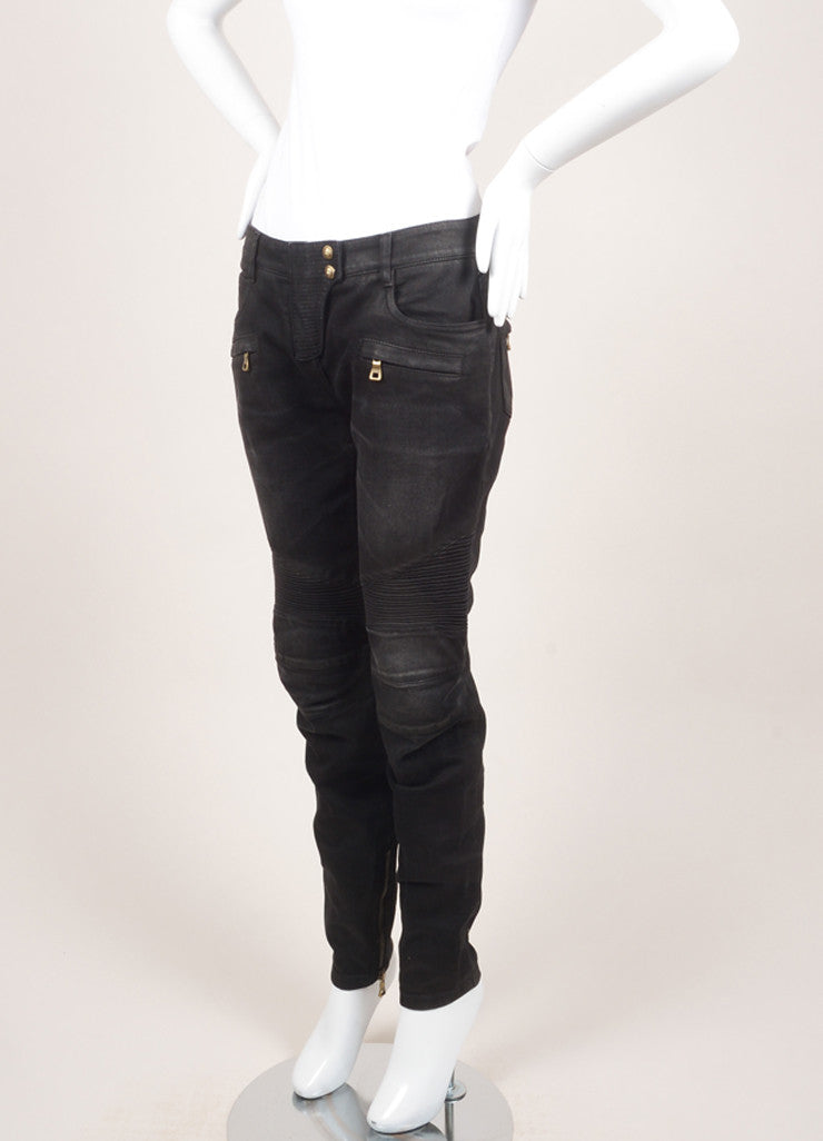 Balmain New With Tags Black Washed Stretch Cotton Quilted Moto Biker Pants Sideview