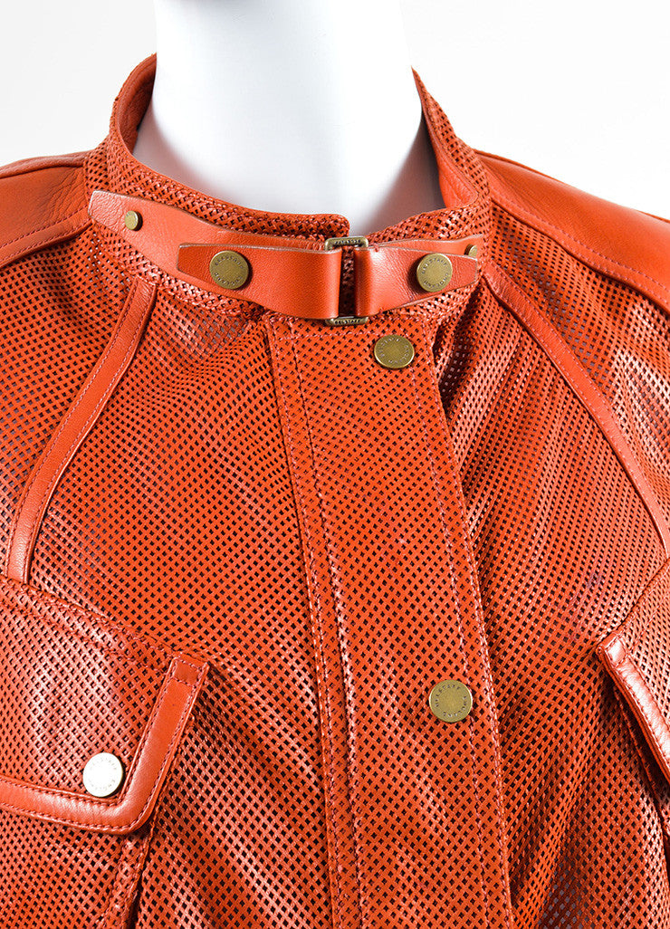 Belstaff Rust Red Leather Perforated Belted Mid Length Long Sleeve Safari Jacket Detail
