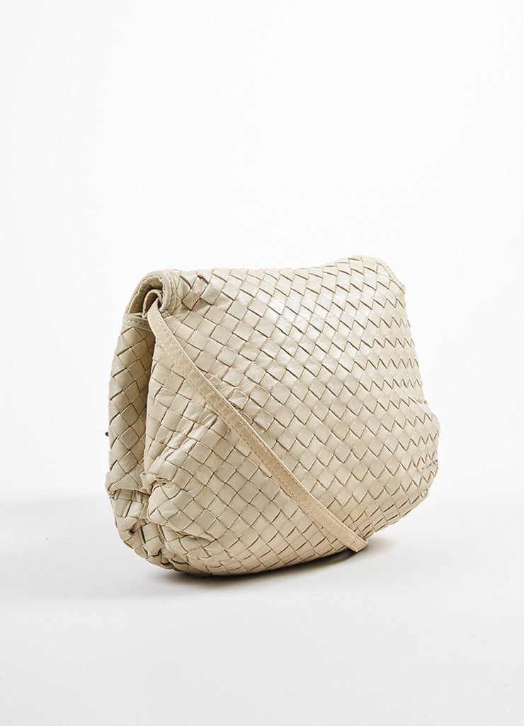 Bottega Veneta Beige Leather Intrecciato Woven Crossbody Shoulder Bag Sideview