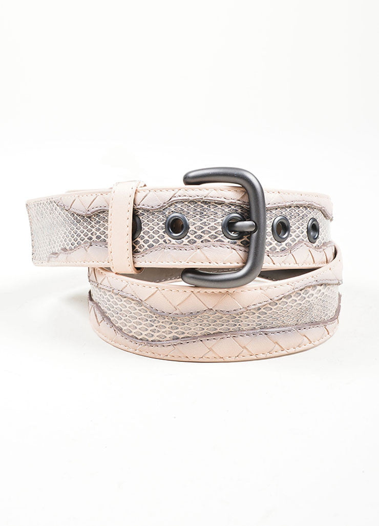 Pink Bottega Veneta Intrecciato Leather Woven Trim Buckled Belt Frontview