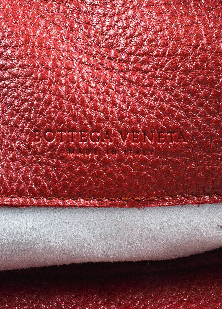 Red Bottega Veneta Leather Woven Trim Oversized Hobo Tote Bag Brand