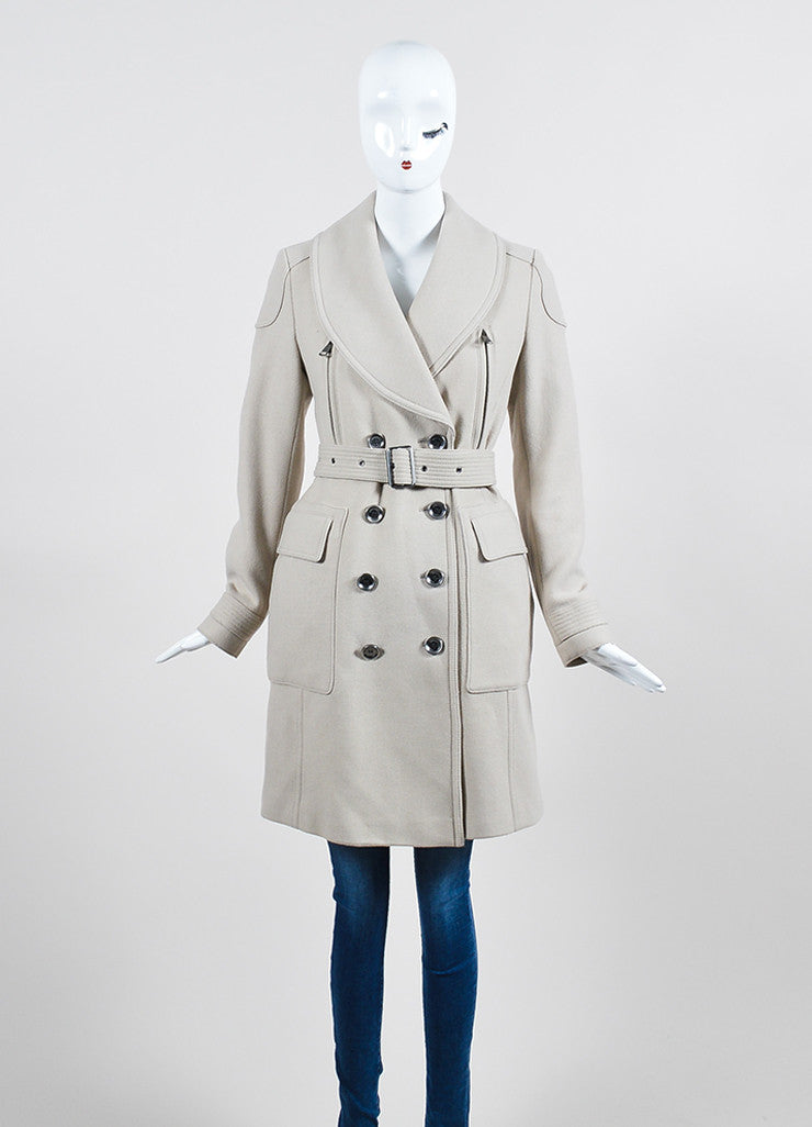 Beige Burberry Brit Double Breast Belt Trench Coat Frontview