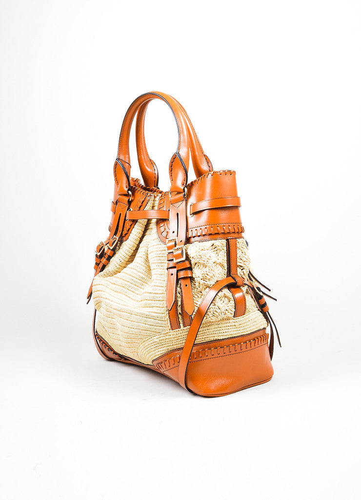 Cognac Brown Burberry Prorsum Leather Raffia Satchel Tote Bag Sideview