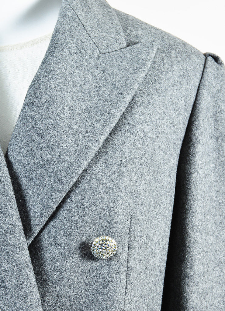 Celine Grey Wool and Cashmere Jewel Cluster Button Double Breasted Coat Detail