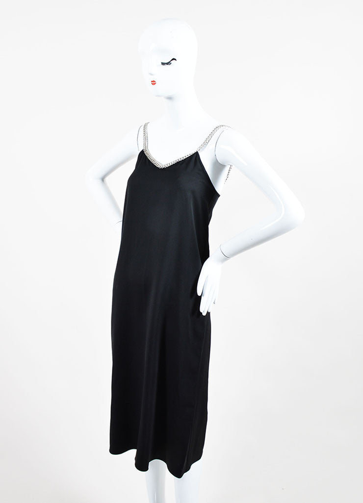 Black and Silver Celine Silk Chain Link Straps Sleeveless Dress Sideview