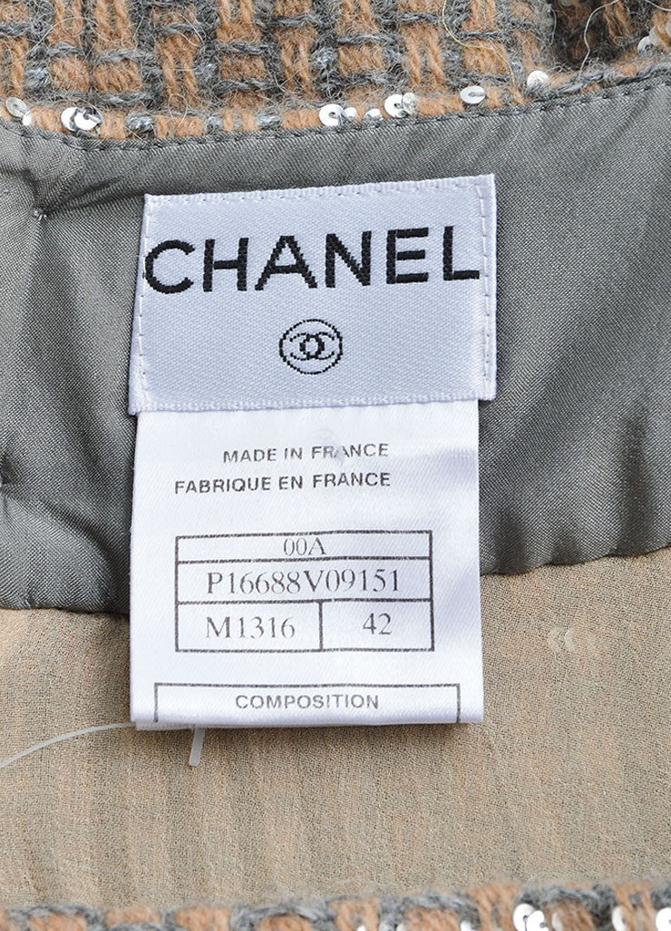 Chanel Beige and Grey Tweed Panel Pleated A-Line Skirt Brand