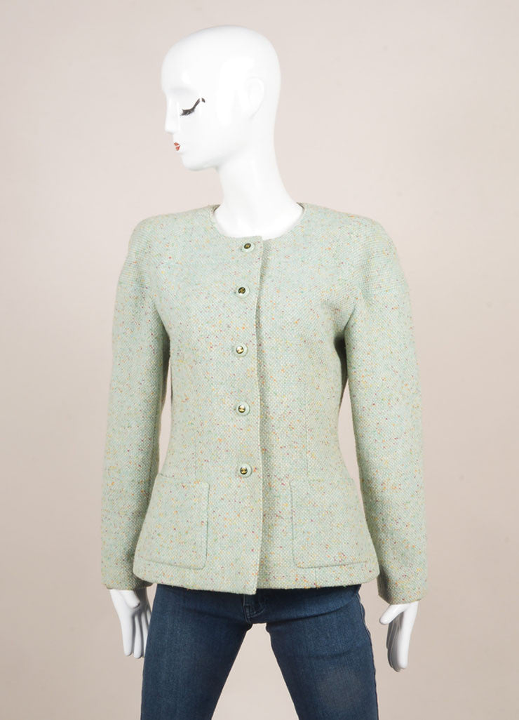 "Chanel Mint Green Wool Tweed ""CC"" Button Jacket Frontview"