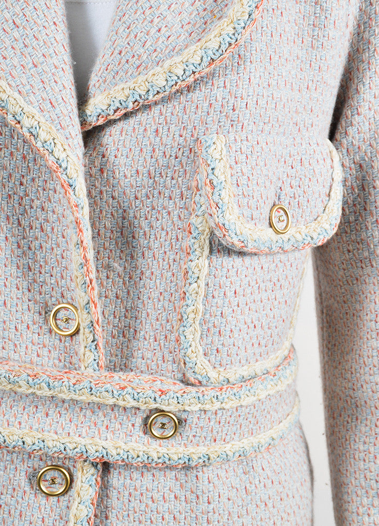 Pink, Blue, and Cream Chanel Tweed Knit Trim 'CC' Button Coat Detail