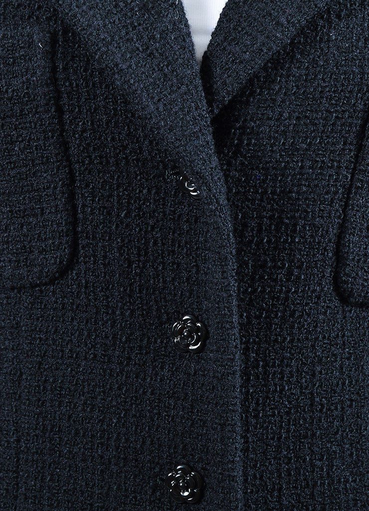 Black Chanel 02C Wool Angora Flower Button Jacket Detail