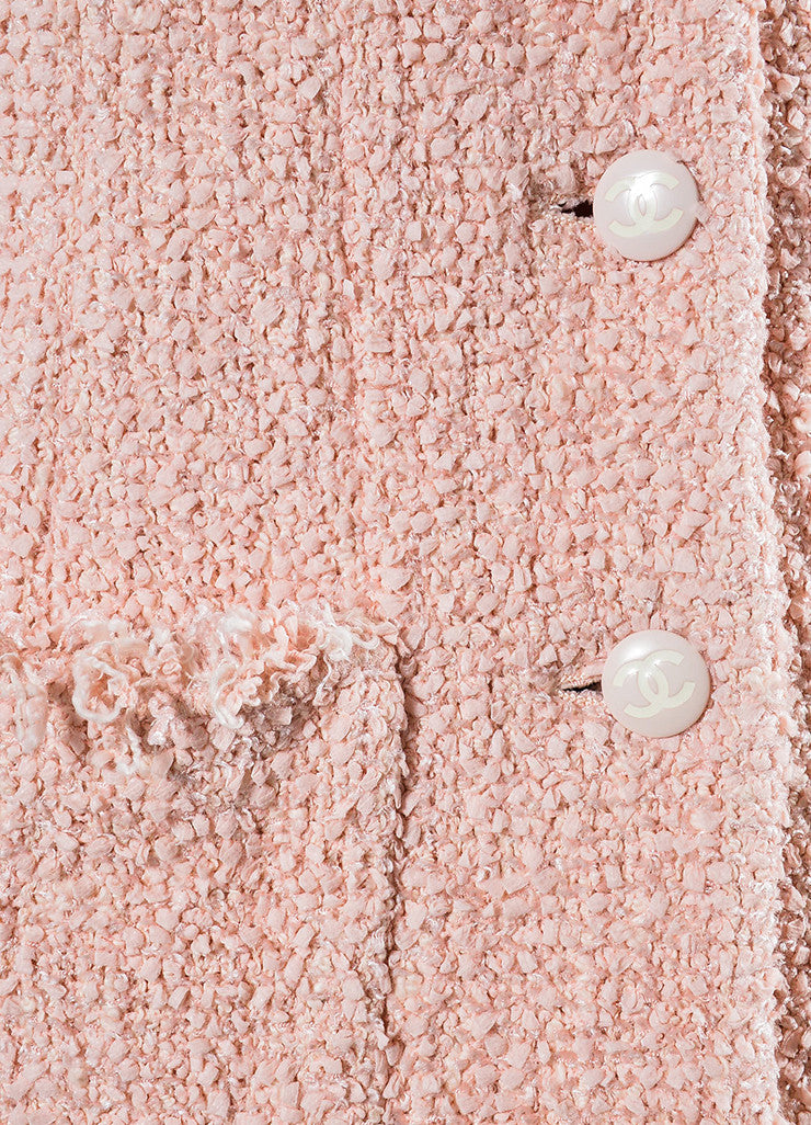 Pink Chanel Cotton and Wool Tweed 'CC' Button Fringe Trim Blazer Jacket Detail