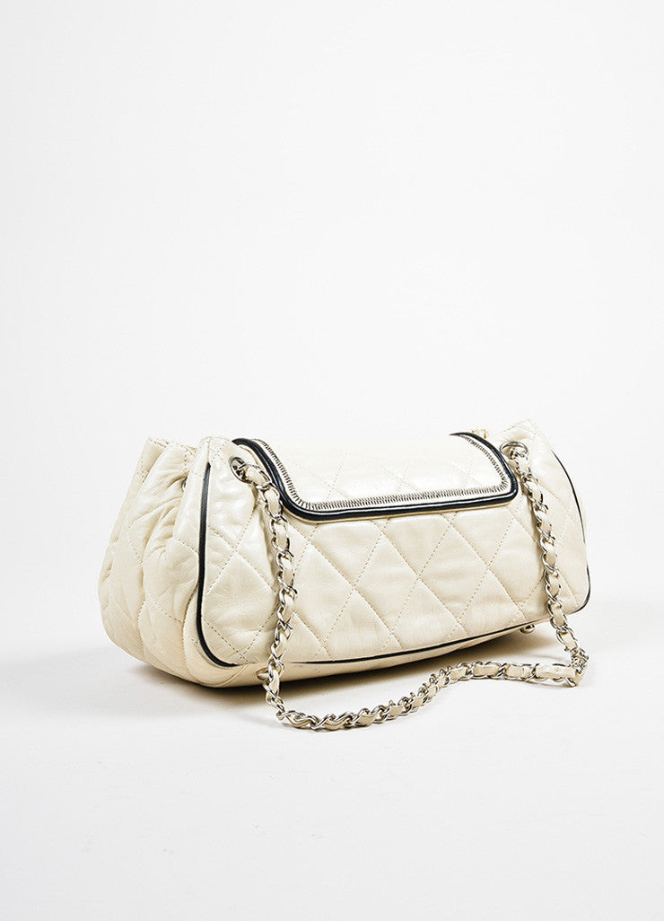"Cream and Black Chanel Leather Quilted Chain Strap ""East West Accordion"" Bag Backview"