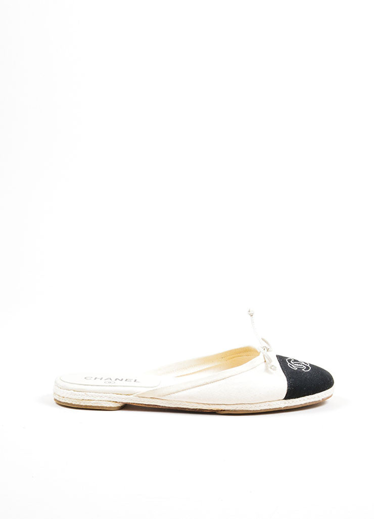 Black and Cream Chanel Canvas Embroidered Ballet Braided Round Toe Slip On Flats Sideview