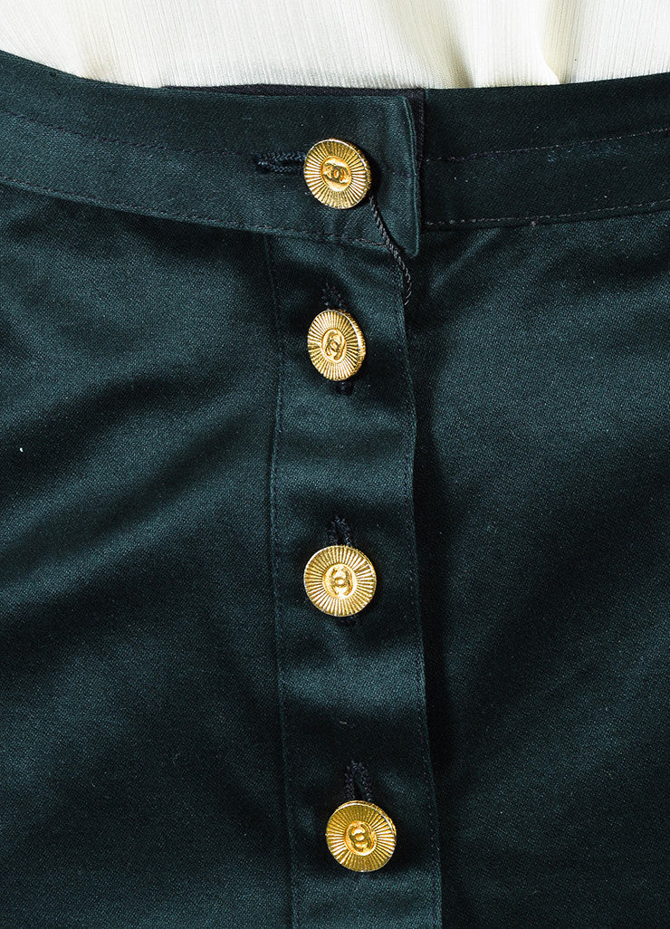 Chanel Black Gold Toned 'CC' Button Trumpet Skirt Detail