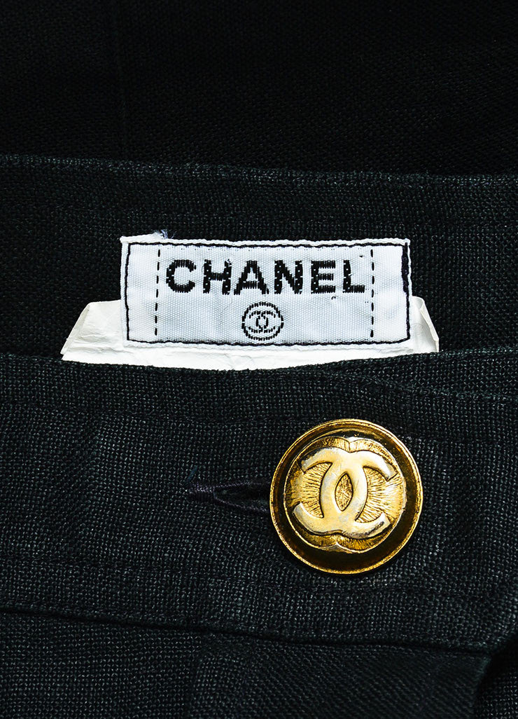 Chanel Black Linen Gold Toned 'CC' Button Down Knee Length Pencil Skirt Brand