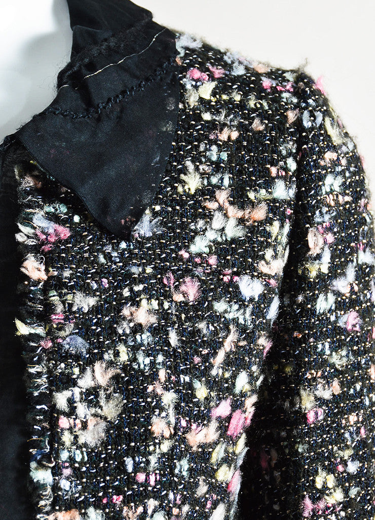 Chanel Black and Multicolor Wool Blend Tweed Silk Trim Blazer Jacket Detail