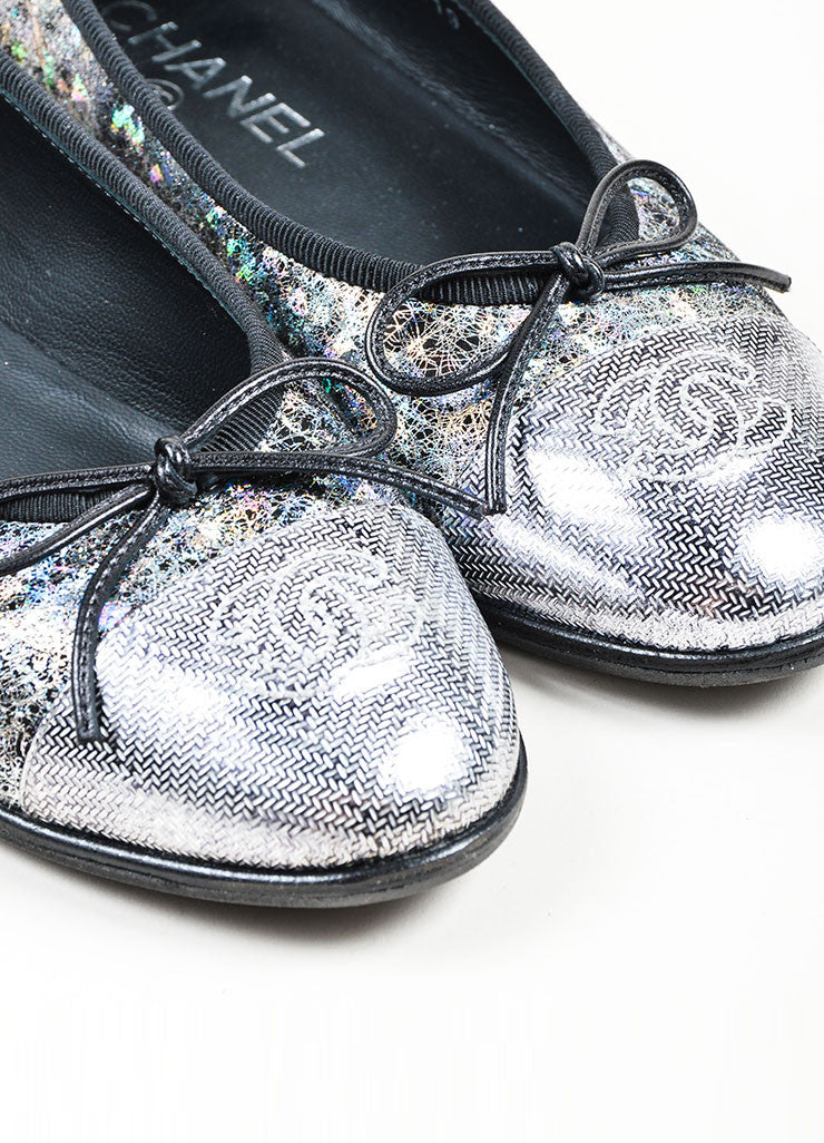 Metallic Silver and Black Chanel Hologram Leather 'CC' Cap Toe Ballet Flats Detail