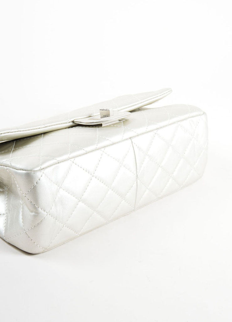 "Chanel Silver Metallic Leather Quilted ""2.55 Reissue"" Double Flap Shoulder Bag Bottom View"