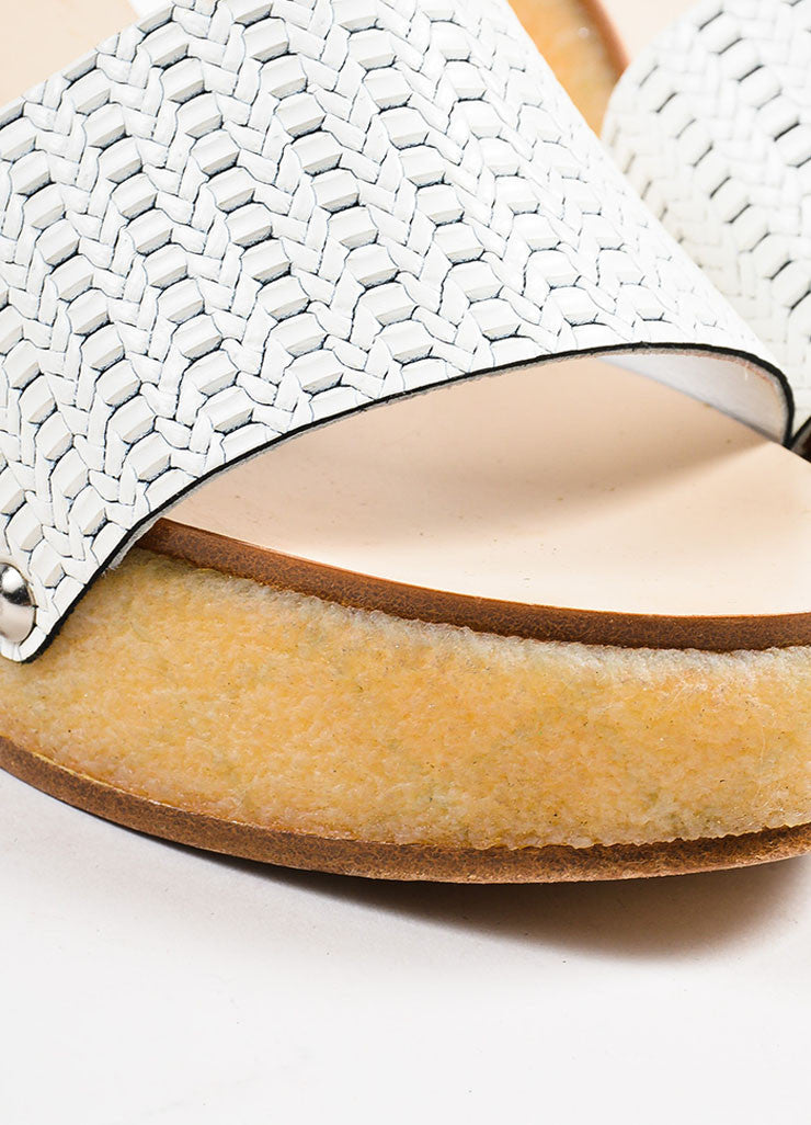 Chanel White Leather Woven Chevron Pattern and Quilted Wedge Sandals Detail