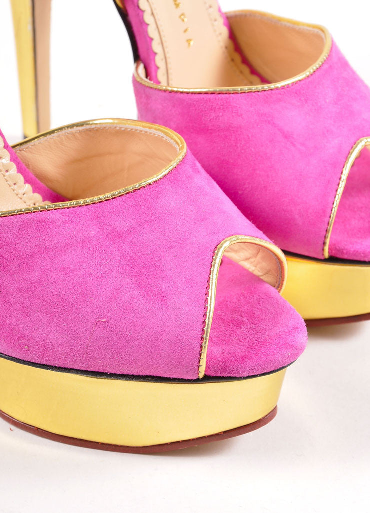 "Charlotte Olympia Fuchsia and Gold Suede ""Irina"" Peep Toe Platform Pumps Detail"