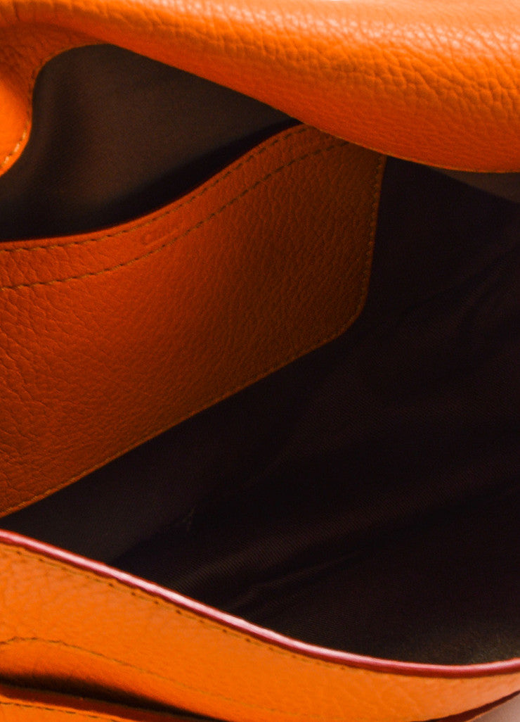"Orange Chloe Grained Leather Saddle Crossbody ""Marcie"" Bag Detail 4"