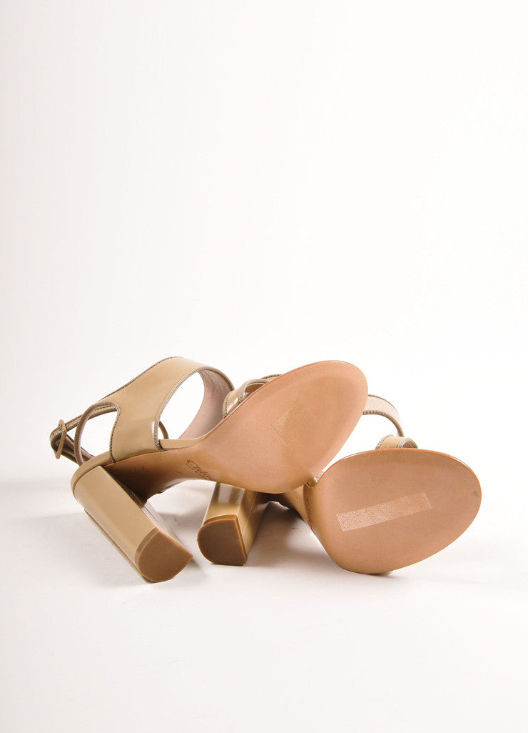 Chloe Taupe Patent Leather Chunky Heel Sandals Outsoles