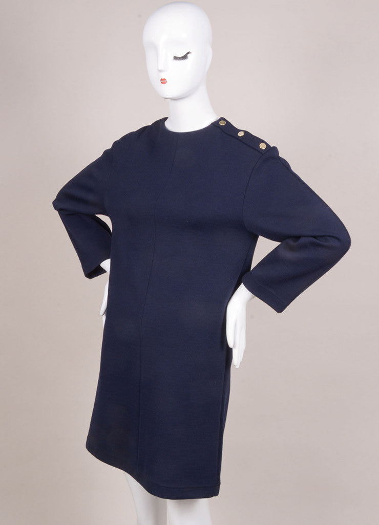 Chloe New With Tags Navy Wool Blend Long Sleeve Dress Sideview