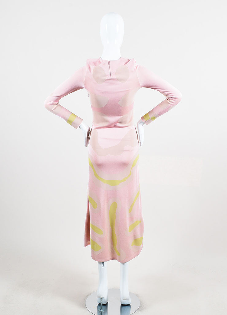 Christian Dior Pink and Cream Jersey Patterned Long Sleeve Maxi Dress Backview