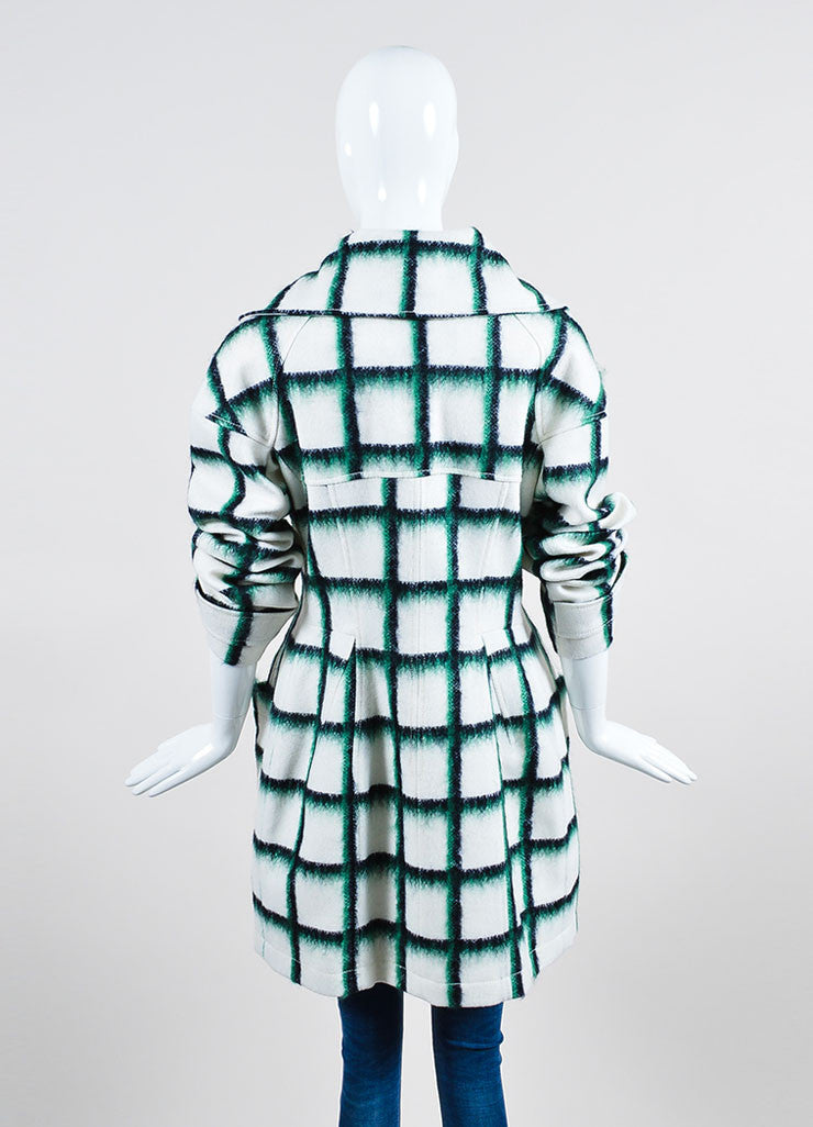White and Green Christian Dior Wool and Mohair Checked Print Toggle Coat Backview