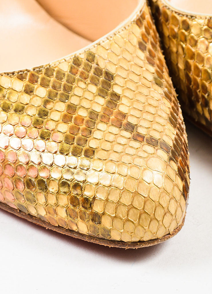 "Metallic Multicolor Python Christian Louboutin ""O My Sling"" Pumps Detail"