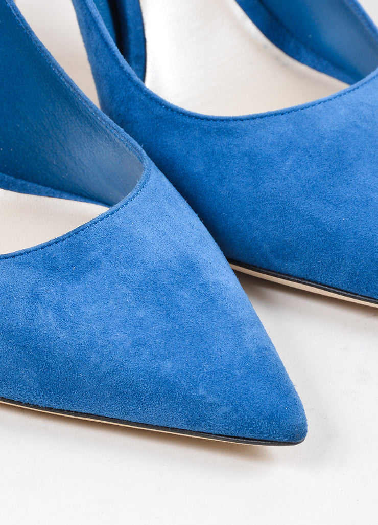 "Blue ""Petrole"" Christian Dior Suede Leather Pointed Toe Pumps Detail"