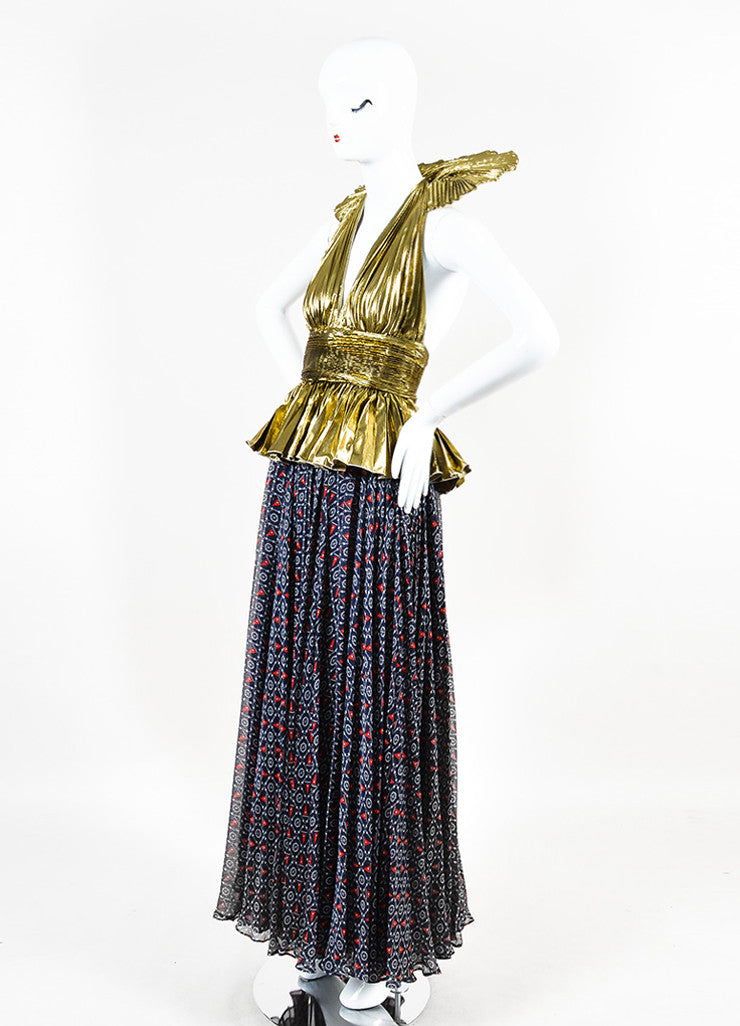 ¥éËDolce & Gabbana Gold and Navy Silk Lame Nautical Print Halter Gown Sideview